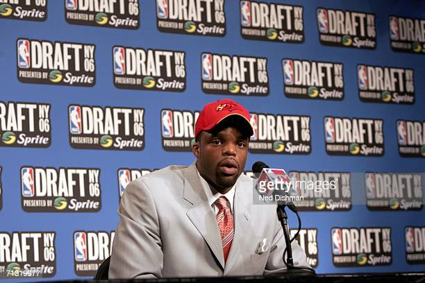 Shelden Williams of the Atlanta Hawks the fifth overall pick talks with the media after the 2006 NBA Draft at Madison Square Garden on June 28 2006...
