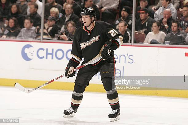 Sheldon Brookbank of the Anaheim Ducks skates on the ice against the Calgary Flames during the game on February 11 2009 at Honda Center in Anaheim...