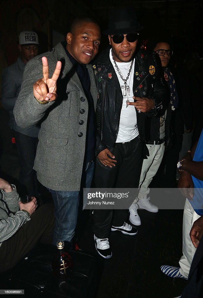 Sheldon Candis and Flo Rida attend the Jay-Z & D'Usse Super Bowl Party at The Republic on February 2, 2013, in New Orleans, Louisiana.