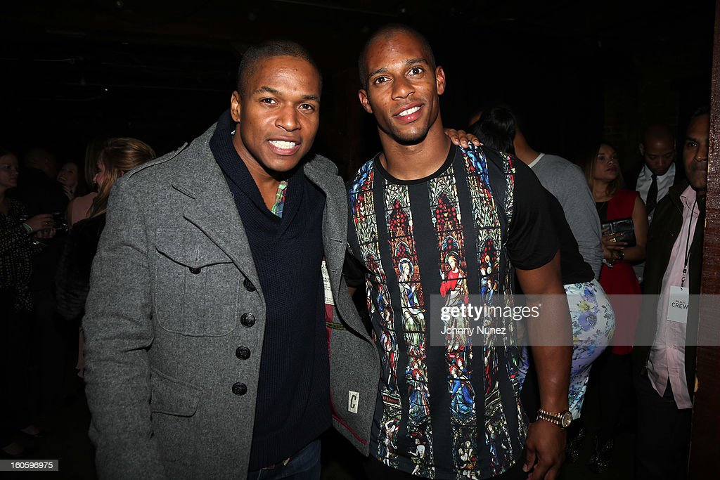 Sheldon Candis and Victor Cruz attend the Jay-Z & D'Usse Super Bowl Party at The Republic on February 2, 2013, in New Orleans, Louisiana.