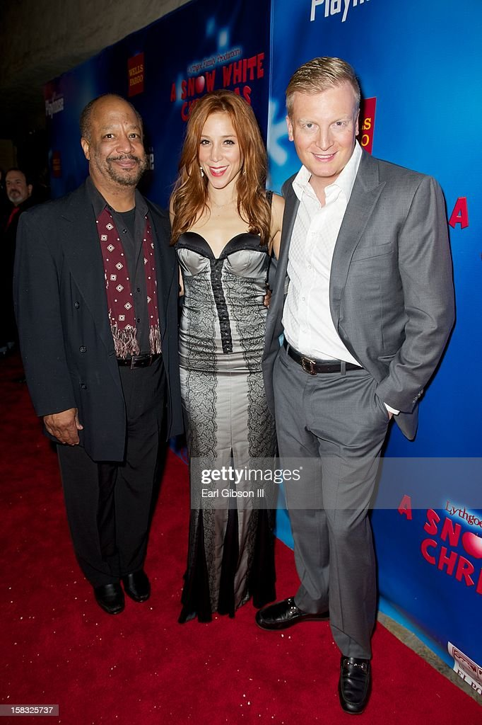 Sheldon Epps, Becky Baeling and Kris Lythgoe attend 'A Snow White Christmas' at the Pasadena Playhouse on December 12, 2012 in Pasadena, California.