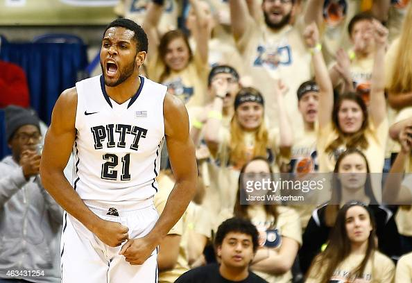 Sheldon Jeter of the Pittsburgh Panthers celebrates following his shot in the first half against the North Carolina Tarheels during the game at...