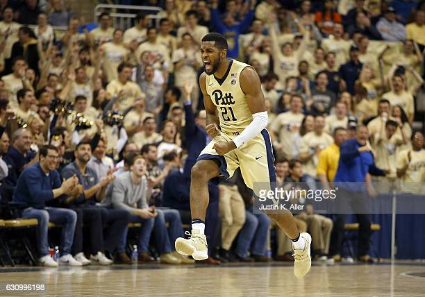 Sheldon Jeter of the Pittsburgh Panthers reacts after hitting a three pointer in overtime against the Virginia Cavaliers at Petersen Events Center on...