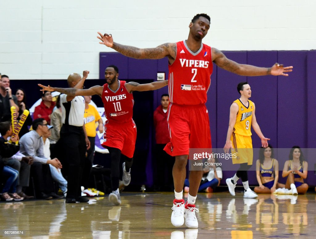 Sheldon McClellan #2 and Chris Johnson #10 of the Rio Grande Valley Vipers celebrate after Johnson's three-point basket late in the game against the Los Angeles D-Fenders in Game Three of the Western Division SemiFinals on April 10, 2017 at Toyota Sports Center in El Segundo, California.