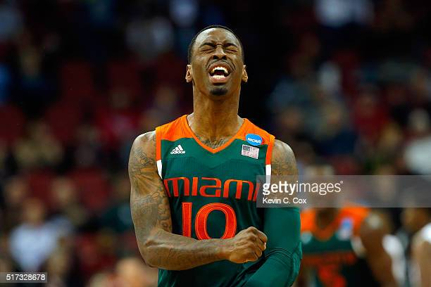 Sheldon McClellan of the Miami Hurricanes reacts in the first half against the Villanova Wildcats during the 2016 NCAA Men's Basketball Tournament...