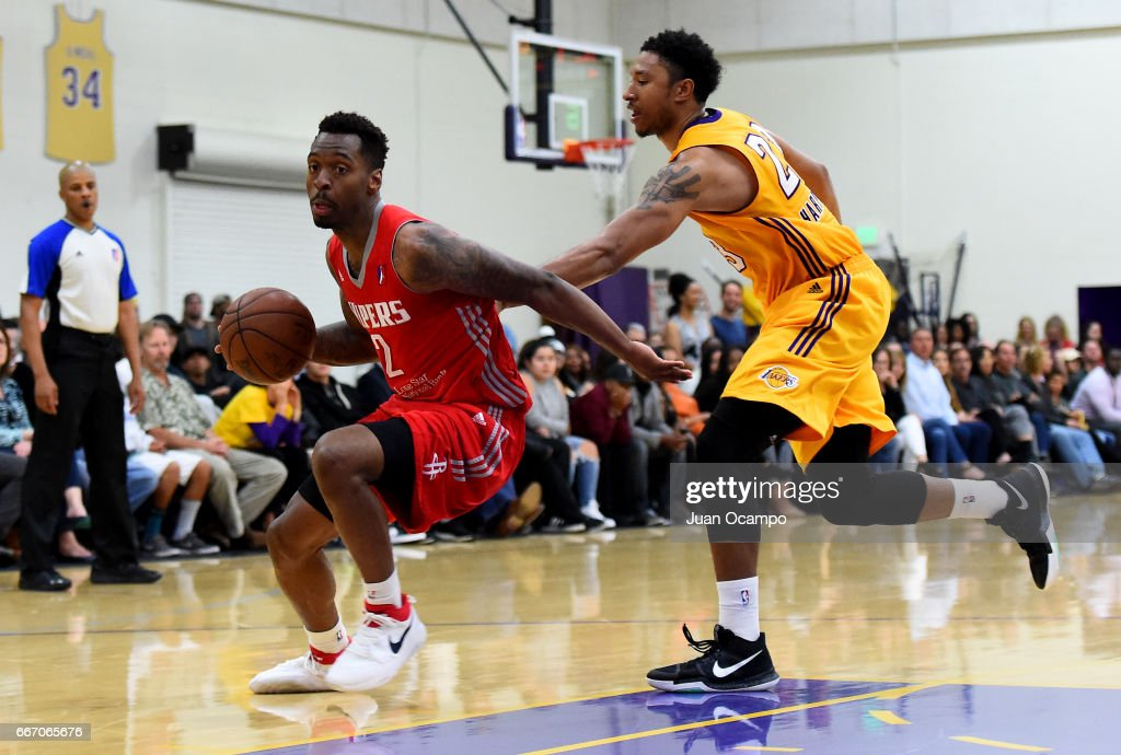 Sheldon McClellan #2 of the Rio Grande Valley Vipers dribbles away from Justin Harper #23 of the Los Angeles D-Fenders in Game Three of the Western Division SemiFinals on April 10, 2017 at Toyota Sports Center in El Segundo, California.