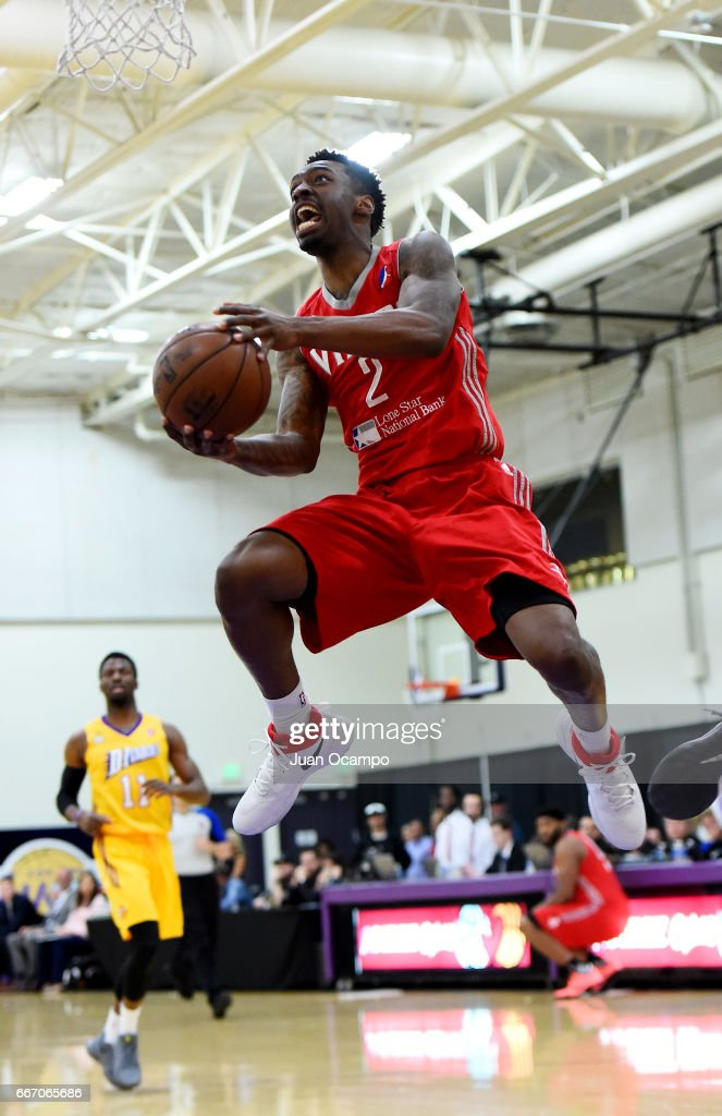 Sheldon McClellan #2 of the Rio Grande Valley Vipers goes to the basket during the game against the Los Angeles D-Fenders in Game Three of the Western Division SemiFinals on April 10, 2017 at Toyota Sports Center in El Segundo, California.