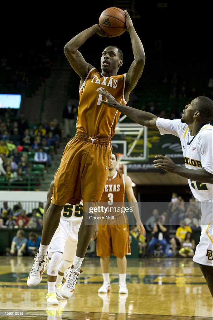 Sheldon McClellan #1 of the University of Texas Longhorns shoots the ball against the Baylor University Bears on January 5, 2013 at the Ferrell Center in Waco, Texas.