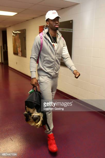 Sheldon McClellan of the Washington Wizards arrives to the arena before the game against the Boston Celtics during Game Six of the Eastern Conference...