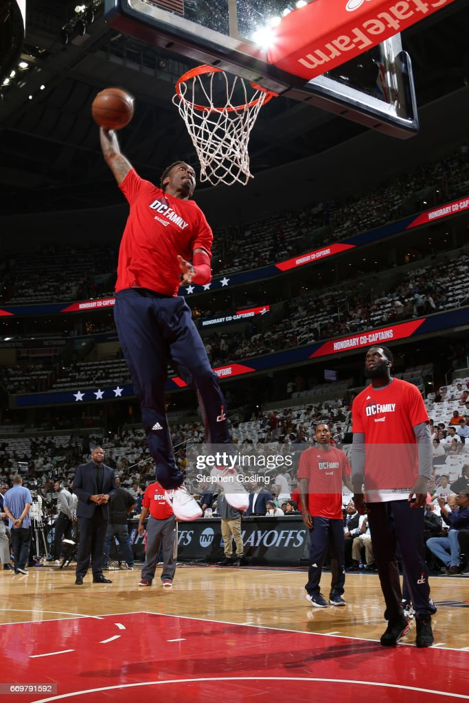 Sheldon McClellan #9 of the Washington Wizards warms up before the Eastern Conference Quarterfinals game against the Atlanta Hawks during the 2017 NBA Playoffs on April 16, 2017 at Verizon Center in Washington, DC.
