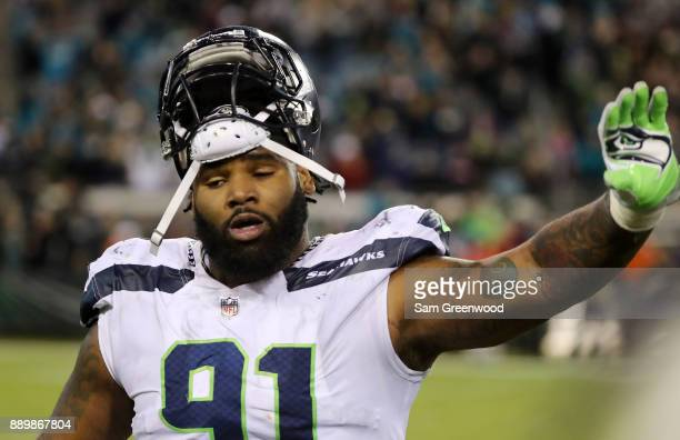 Sheldon Richardson of the Seattle Seahawks walks off the field during the second half of their game against the Jacksonville Jaguars at EverBank...