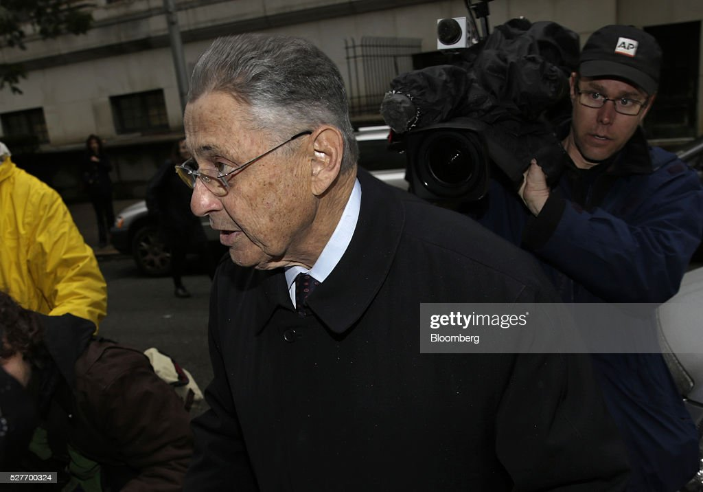 <a gi-track='captionPersonalityLinkClicked' href=/galleries/search?phrase=Sheldon+Silver&family=editorial&specificpeople=651488 ng-click='$event.stopPropagation()'>Sheldon Silver</a>, former speaker of the New York State Assembly, arrives at federal court for a sentencing hearing in New York, U.S., on Tuesday, May 3, 2016. Silver was convicted on Nov. 30 of seven counts, including wire fraud, extortion and money laundering of crime proceeds. Photographer: Peter Foley/Bloomberg via Getty Images