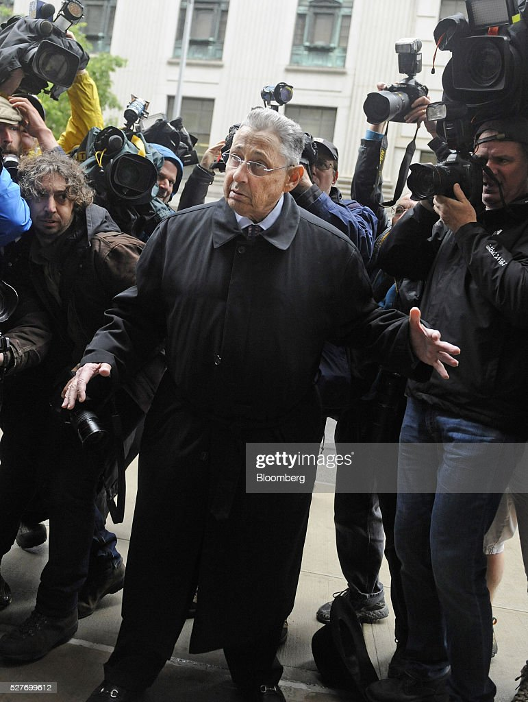 <a gi-track='captionPersonalityLinkClicked' href=/galleries/search?phrase=Sheldon+Silver&family=editorial&specificpeople=651488 ng-click='$event.stopPropagation()'>Sheldon Silver</a>, former speaker of the New York State Assembly, center, arrives at federal court for a sentencing hearing in New York, U.S., on Tuesday, May 3, 2016. Silver was convicted on Nov. 30 of seven counts, including wire fraud, extortion and money laundering of crime proceeds. Photographer: Louis Lanzano/Bloomberg via Getty Images
