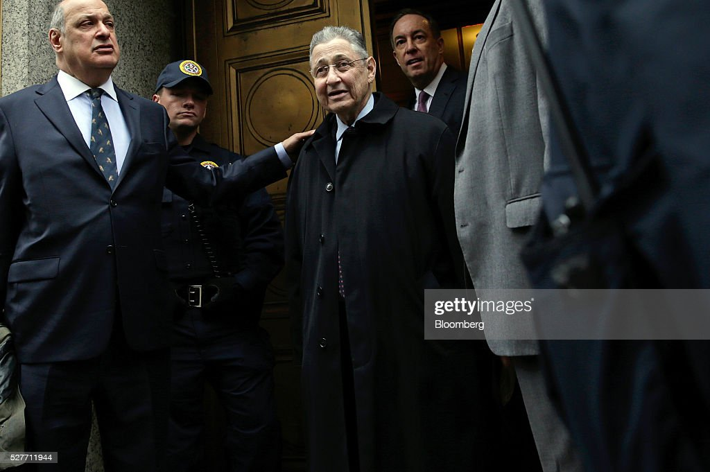 Sheldon Silver, former speaker of the New York State Assembly, center, exits federal court with his attorney Joel Cohen, left, following a sentencing hearing in New York, U.S., on Tuesday, May 3, 2016. Silver was sentenced to 12 years in prison on corruption charges. Photographer: Peter Foley/Bloomberg via Getty Images