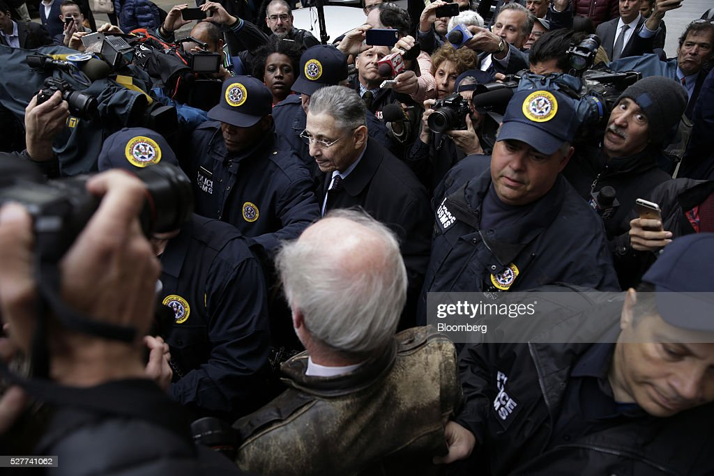 Sheldon Silver, former speaker of the New York State Assembly, center, exits federal court following a sentencing hearing in New York, U.S., on Tuesday, May 3, 2016. Silver was sentenced to 12 years in prison on corruption charges. Photographer: Peter Foley/Bloomberg via Getty Images