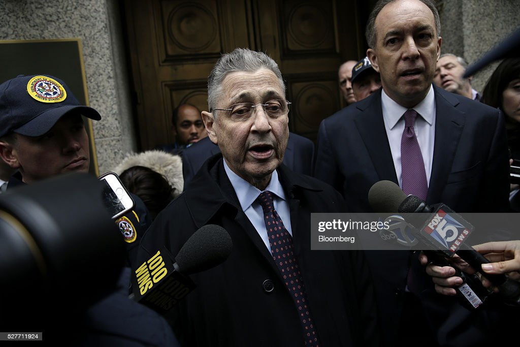Sheldon Silver, former speaker of the New York State Assembly, exits federal court following a sentencing hearing in New York, U.S., on Tuesday, May 3, 2016. Silver was sentenced to 12 years in prison on corruption charges. Photographer: Peter Foley/Bloomberg via Getty Images