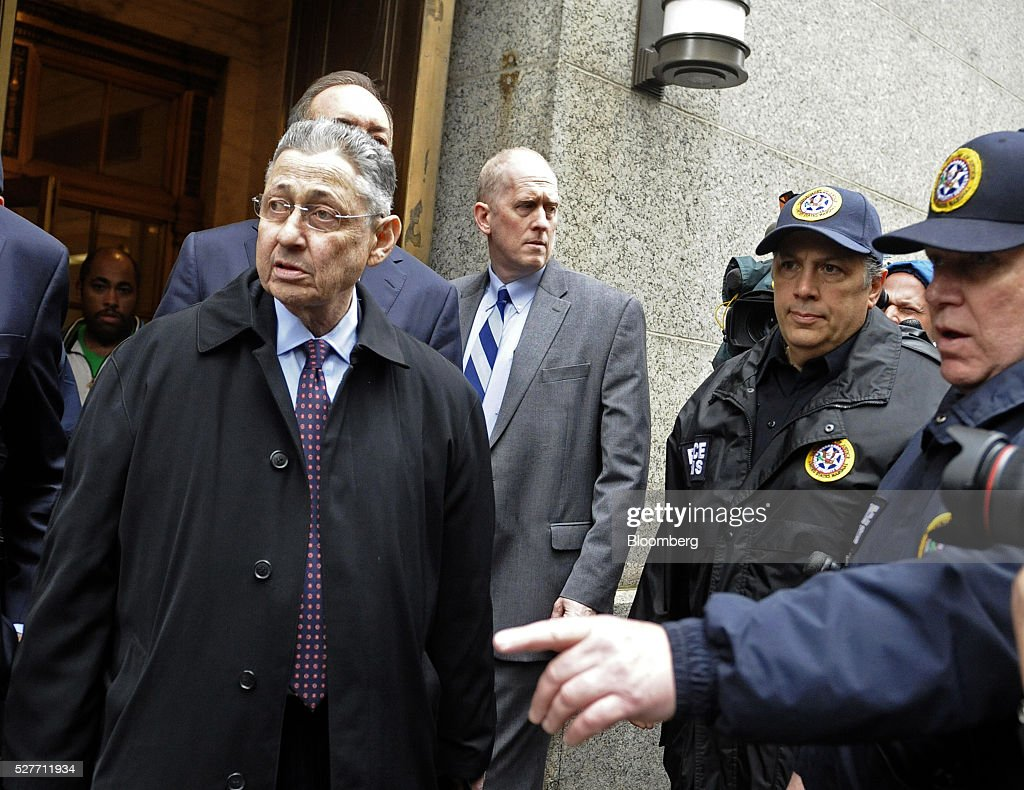 Sheldon Silver, former speaker of the New York State Assembly, left, exits federal court following a sentencing hearing in New York, U.S., on Tuesday, May 3, 2016. Silver was sentenced to 12 years in prison on corruption charges. Photographer: Louis Lanzano/Bloomberg via Getty Images
