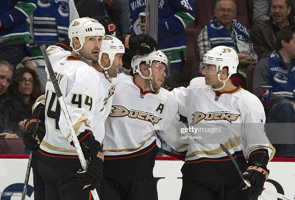 <a gi-track='captionPersonalityLinkClicked' href=/galleries/search?phrase=Sheldon+Souray&family=editorial&specificpeople=203131 ng-click='$event.stopPropagation()'>Sheldon Souray</a> #44 and the Anaheim Ducks celebrate another goals against the Vancouver Canucks in the season-opening NHL game at Rogers Arena January 19, 2013 in Vancouver, British Columbia, Canada.