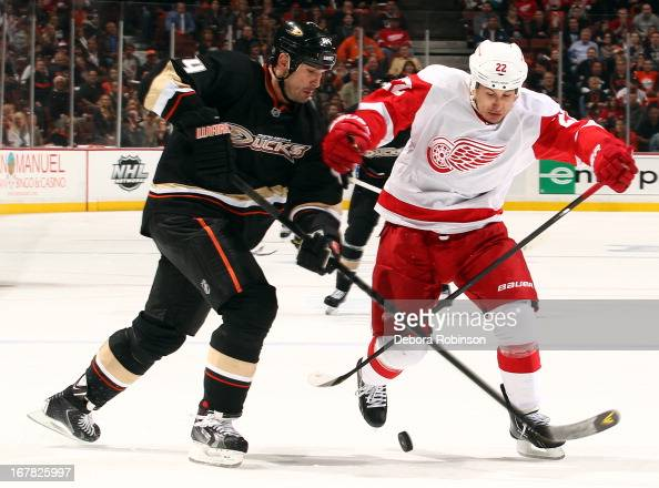 Sheldon Souray of the Anaheim Ducks battles for the puck against Jordin Tootoo of the Detroit Red Wings in Game One of the Western Conference...