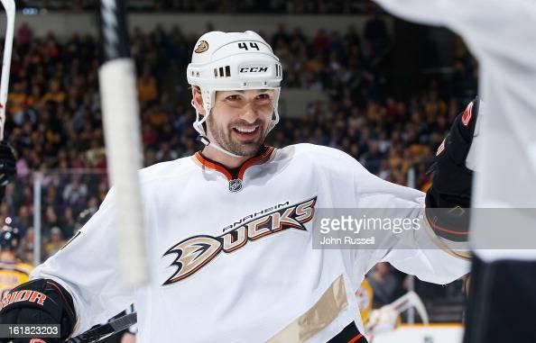 Sheldon Souray of the Anaheim Ducks celebrates a goal with teammates against the Nashville Predators during an NHL game at the Bridgestone Arena on...