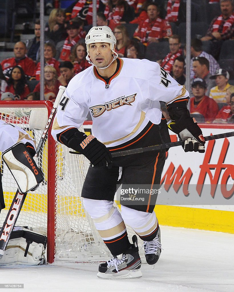 Sheldon Souray of the Anaheim Ducks skates against the Calgary Flames during an NHL game at Scotiabank Saddledome on April 19 2013 in Calgary Alberta...