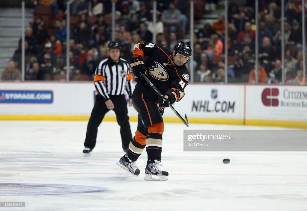 Sheldon Souray of the Anaheim Ducks skates against the Calgary Flames at Honda Center on March 8 2013 in Anaheim California