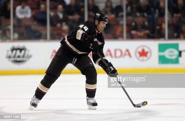 Sheldon Souray of the Anaheim Ducks skates against the Columbus Blue Jackets at Honda Center on April 17 2013 in Anaheim California