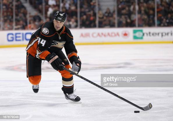 Sheldon Souray of the Anaheim Ducks skates against the Phoenix Coyotes at Honda Center April 27 2013 in Anaheim California
