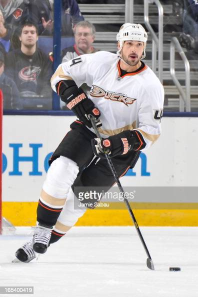 Sheldon Souray of the Anaheim Ducks skates with the puck against the Columbus Blue Jackets on March 31 2013 at Nationwide Arena in Columbus Ohio