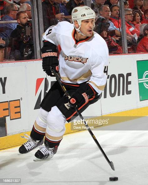 Sheldon Souray of the Anaheim Ducks skates with the puck during Game Four of the Western Conference Quarterfinals during the 2013 NHL Stanley Cup...