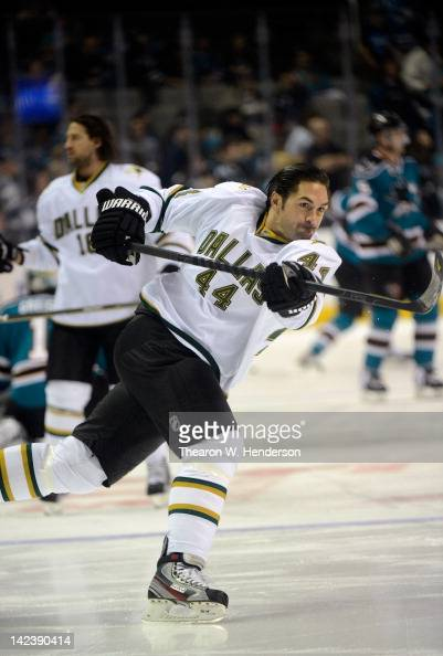 Sheldon Souray of the Dallas Stars skates in warm ups before the game against the San Jose Sharks at HP Pavilion at San Jose on March 31 2012 in San...