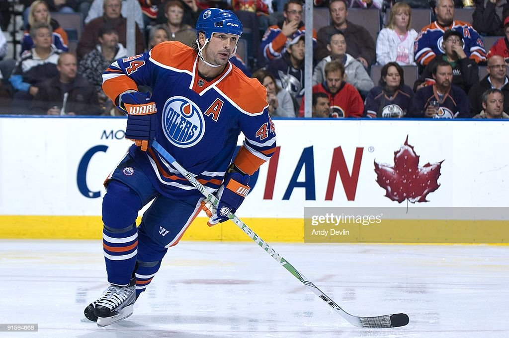 Sheldon Souray of the Edmonton Oilers follows the play during a game against the Calgary Flames on October 3 2009 at Rexall Place in Edmonton Alberta...