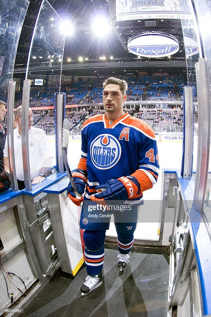 Sheldon Souray of the Edmonton Oilers steps off the ice after warming up before a game against the Chicago Blackhawks at Rexall Place on January 26...