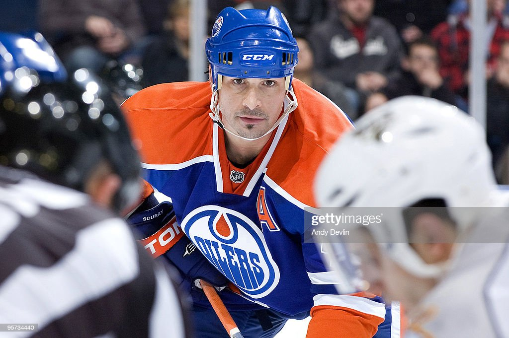 Sheldon Souray of the Edmonton Oilers watches the faceoff during a game against the Nashville Predators at Rexall Place on January 12 2010 in...