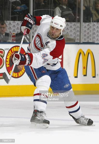 Sheldon Souray of the Montreal Canadiens shoots the puck against the Toronto Maple Leafs during their NHL game at the Air Canada Centre on January 27...