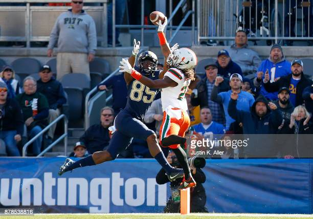 Sheldrick Redwine of the Miami Hurricanes knocks down a pass intended for Jester Weah of the Pittsburgh Panthers on November 24 2017 at Heinz Field...