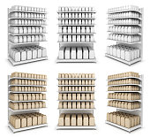 Shelf sections with the goods. Packaging. Set of 3d images