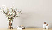 Wall decoration, wooden shelf with flower branches in vase, spring interior background 3d rendering