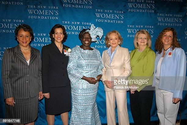 Shelia Johnson Barbara Wynne Dr Wangari Maathai Barbara Walters Geraldine Laybourne and Abby Disney attend The New York Women's Foundation 2005...