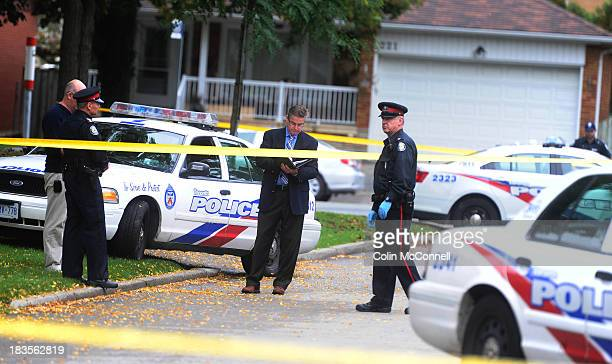 Shell casings are marked at the scene as SIU were called in when police were involved in a shooting on Epping St in the Islington and Westway area of...