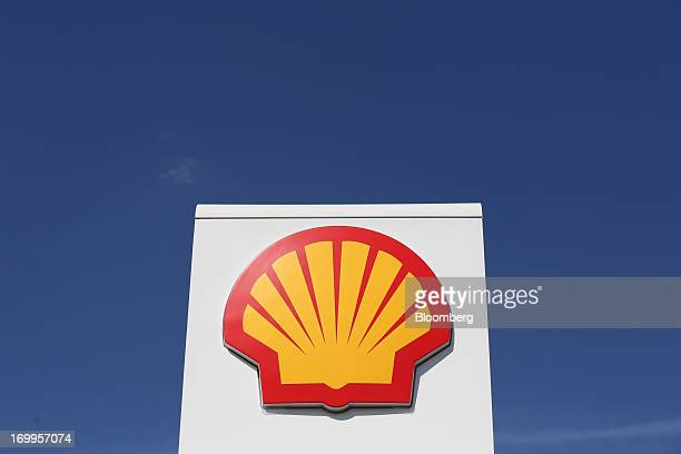 A Shell company logo sits on display on the forecourt of Royal Dutch Shell Plc's 100th Russian gas station on its opening day in Moscow Russia on...