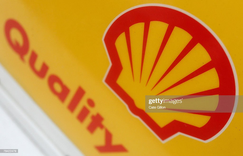 Shell logo is displayed at a petrol station on the day Shell announced record profits on January 31 2008 in London England The company Royal Dutch...