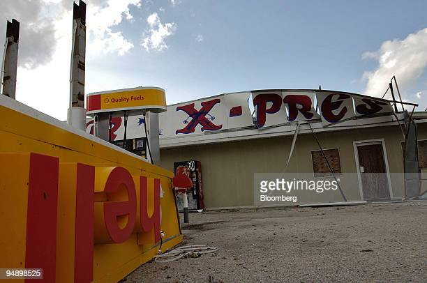 Shell service station heavily damaged by Hurricane Katrina is pictured in Paradis Louisiana Tuesday August 30 2005