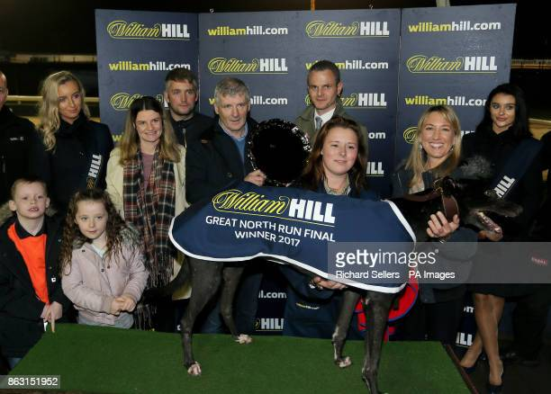 Shellam Delano with connections A Harrison Mr R Clarke after winning the Great North Run Final Race eight at Newcastle during the William Hill All...
