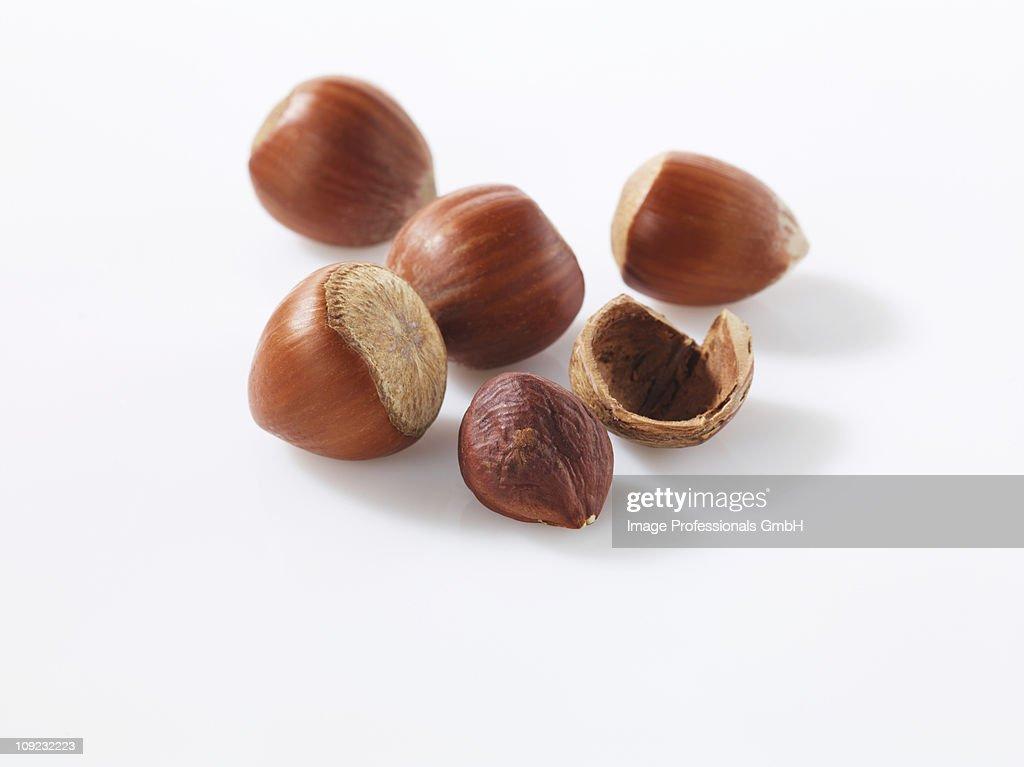 Shelled and unshelled hazelnut on white background, close-up