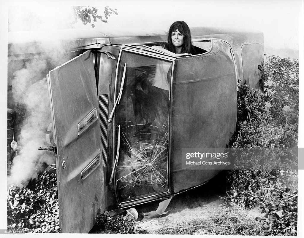 Shelley Fabares looks for help after a car crash in a scene from the movie 'A Time to Sing' circa 1968