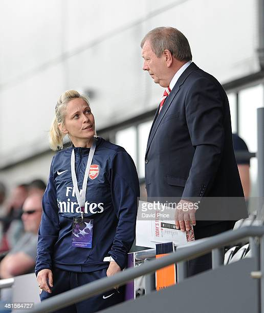Shelley Kerr the Arsenal Ladies Manager chats to Arsenal Ladies General Manager Vic Akers at half time of the match between Arsenal Ladies and...