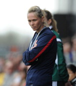 Shelley Kerr the Arsenal Ladies Manager during the match between Arsenal Ladies and Birmingham City Ladies in the UEFA Womens Champions League at The...