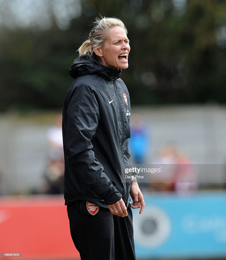 Shelley Kerr the Manager of Arsenal Ladies FC during the Women's Champions League Semi Final match between Arsenal Ladies FC and VfL Wolfsburg at Meadow Park on April 14, 2013 in Borehamwood, United Kingdom.