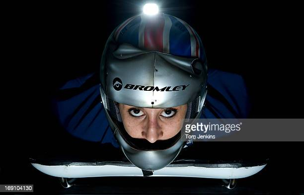 Shelley Rudman British silver medallist in the women's bob skeleton at the Turin Winter Olympics 2006 poses on her sled at the offices of Bromley...